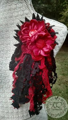 Large, Upcycled Fabric Flower Brooch designed by The Classy Quill 🌎🌿UPCYCLED🌿🌎 Colors include: Fabric Flower Pins, Fabric Flower Brooch, Shabby Flowers, Corsages, Shades Of Red, 4th Of July Wreath, Burlap Wreath, Scarlet, Quilling