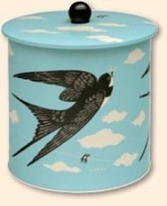 John Hanna Swallow biscuit barrel Storage Tin Country Fair Retro Vintage Gift