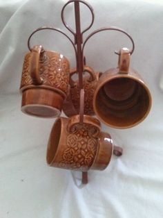 Four Vintage Retro Brown Stackable Coffee Mugs Cups Japan with Stand