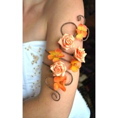 Matching arm cuffs upper and lower order any colour flower and vine... ($63) ❤ liked on Polyvore featuring jewelry, bracelets, flower jewellery, arm cuff jewelry, flower bangle, vine jewelry and blossom jewelry