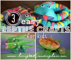 3 Easy Reptile Crafts for Kids | Necktie Snake Craft | Turtle Craft