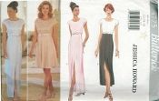 An original ca. 1996 Butterick Pattern 4775.  Jessica Howard - Misses' Dress - Lined dress, mid-knee, above ankle or evening length has close-fitting bodice, raised waist, band/bow/knot, back zipper and cap sleeves.  A: flared skirt. A,B,C: contrast bodice/band/bow/knot.  B,C,D: tapered skirt with side front/side back seams and front slit.