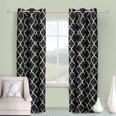 Awad Home Fashion 2 PC Microfiber Window Treatment Grommet Top Curtian Panel Drapes Geometric Style Trellis Print, WCS-11 (45'W x 84'L, Black) >>> You can get more details by clicking on the image. (This is an affiliate link) #DecorativeAccessories