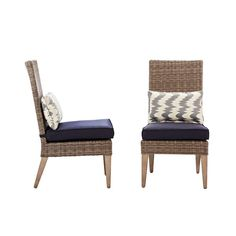Home Decorators Collection Naples Grey Wicker All Weather Patio Parson Chairs With Navy Cushions Set Of 2