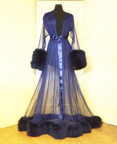 Image of Sheer Dressing Gown with Marabou Cuffs & Hem