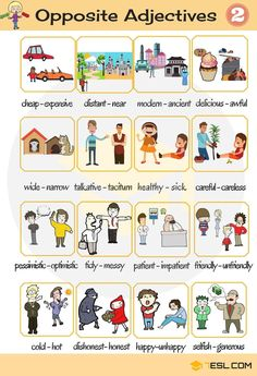 Opposites are words lying in an inherently incompatible binary relationship, like the opposite pairs big - small, long - short, etc. Below is a list of opposite adjectives you should learn to expand your vocabulary. Common Adjectives, List Of Adjectives, English Adjectives, English Verbs, English Vocabulary Words, English Writing, Learning English For Kids, English Lessons For Kids, Kids English