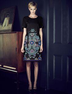 Paisley Print Dress.  The Haircut too!