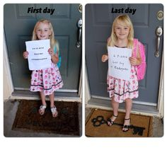 Take a photo of your child the first day of kindergarten and then also on the last day wearing the same outfit and in the same spot! Then compare how much they have grown!