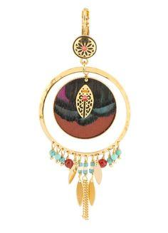 Boucles d'oreilles dormeuses design strass, perles et plumes colorées