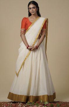 Kerala Engagement Dress, Engagement Dresses, Onam Saree, Sarees, Full Skirt And Top, Kerala Saree Blouse Designs, Half Saree, Indian Designer Wear, Beautiful Saree