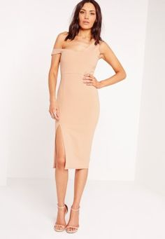 Bardot Strap Midi Dress Nude