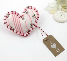 Fabric Heart Shaped Pin Brooch I Heart You Felt Cute Valentines Day Ready to Ship. $8.00, via Etsy.