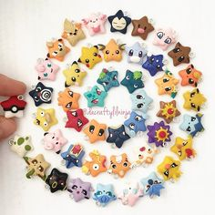 "[polymer clay poke stars, all details made out of clay] Still gotta ""catch"" 113 more first generation Pokemon... Can you spot the newest poke stars? Only a handful have multiples, which will be available on my etsy (link in bio) on Sunday, July 32,201) at 4pm EST (10am Hawaii time). For sure there will be poke eggs, pokeballs, pikachu, jigglypuff, dratini, pichu, eevee, Flareon, jolteon, and maybe a couple others if I have time. Thank you!"