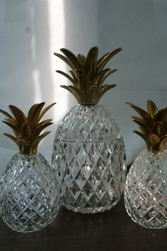 Glass Pineapple box. Crystal and brass by theenchantedfigtree, $375.00