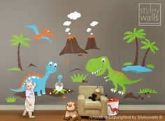 Children Wall Decals Dino Land Dinosaurs Wall decal Wall Sticker HUGE Set - Nursery Kids Playroom Vinyl Wall Decal Sticker Baby Room Art. $178.00, via Etsy.
