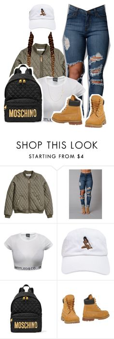 """""""Ready"""" by queen-tiller ❤ liked on Polyvore featuring H&M, Moschino, Timberland, Stella & Dot, women's clothing, women, female, woman, misses and juniors"""