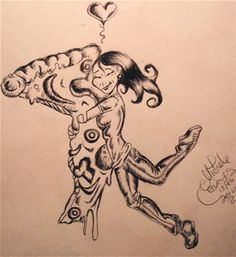 A drawing in Ink I did to express my love of Pizza!!!!!