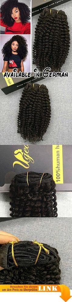 """Ugea Komplette Kopf Kinky Curly Clip in Extensiones Haar 24""""/60cm Brasilianisch Remy Echthaar Tressen mit Clip on 7pcs 120Gramm/set. 1.We sind ein neues Geschaft auf Amazonas. Wir widmen uns, um das beste Qualitatshaar mit dem niedrigsten Preis zur Verfugung zu stellen, um den Markt zu erweitern und Ihre Aufmerksamkeit zu zeichnen.Willkommen Ihr Kommen!. 2.One set: gibt es 7pcs Haareinschlagfaden mit 16 Clips auf, fur einen Komplette Kopf Befestigung. 3.Haarfarbe ist wie"""
