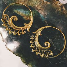 Covet Jewelry Spiral Shaped Buffalo Golden Horn Taper with a Flower Blossom