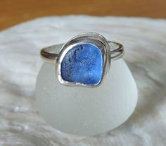 Handmade Sterling silver and sea glass ring - Blue by BeeCreativeCraftsUK on Etsy
