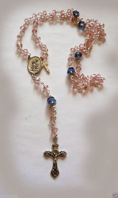 Genuine Swarovski Pink & Blue Crystal Antique Silver St. Anthony Rosary