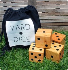 Summer Fun with DIY Wooden Yard Dice! DIY Backyard Games for the Whole Family - Will Make Summer Even More Awesome! These outdoor games are perfect for your next BBQ or picnic! Diy Projects Cans, Crafty Projects, Projects For Kids, Cool Diy, Fun Diy, Yard Dice, Backyard Games, Outdoor Games, Outdoor Ideas