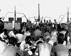 Church services for men of the US Division on the forecastle of en route to the Southern France landings, 13 Aug 1944 (US National Archives) Operation Dragoon, Southern France, National Archives, United States Navy, D Day, North Africa, World War Ii, Division, Wwii