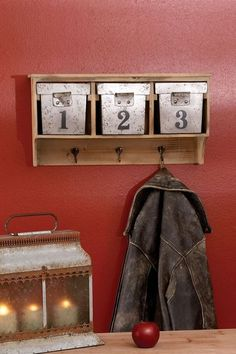 Wood Wall Shelf (w/ Gpa Eddies Metal Baskets) Wood Wall Shelf, Metal Shelves, Wall Shelves, Metal Walls, Wood And Metal, Wooden Coat Hooks, Wood Rack, Metal Baskets, Industrial Chic