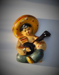 Vintage Chalk Ware Mexican Boy Sombrero 1950's Mid by FabsAndFaves