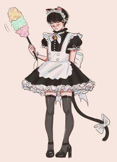 Maid Yoongi at your service master~ Yoonmin Fanart, Jimin Fanart, Kpop Fanart, Bts Chibi, Min Yoonji, Bts Drawings, Bts Fans, Jikook, K Pop
