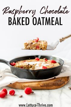 Raspberry Chocolate Baked Oats with a Peanut Butter Swirl Baked Oatmeal Recipes, Baked Oats, Breakfast Cake, Perfect Breakfast, Raspberry Chocolate, Small Baking Dish, Peanut Butter Chips, Baked Pumpkin, Maple Syrup