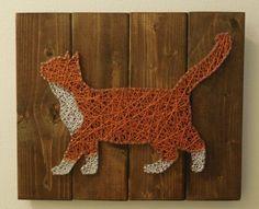 Orange and White Tuxedo Cat 14x11 by StringArtable on Etsy