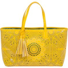 Buco Handbags Sunflower Beach Tote (390067301) (160 CAD) ❤ liked on Polyvore featuring bags, handbags, tote bags, purses, sunkist yellow, tote handbags, hand bags, vegan handbags, yellow tote bag and faux leather purses