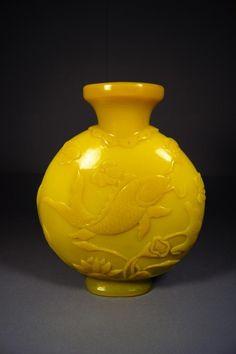 Chinese yellow Peking glass moon Flask vase