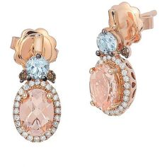 Levian Morganite, Diamond and 14K Stud Drop Earrings ($2,500) ❤ liked on Polyvore