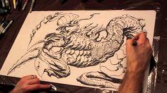 Jeff Miracola - Magic: the Gathering time-lapse playmat drawing