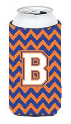 Letter B Chevron Blue and Orange Tall Boy Beverage Insulator Hugger CJ1060-BTBC