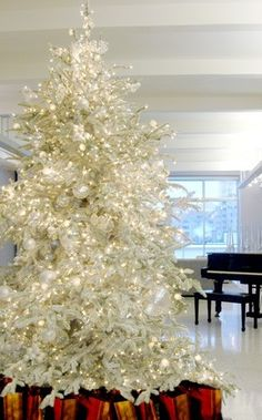 An all white Christmas tree.