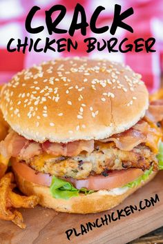 Crack Chicken Burgers - the BEST ground chicken burger EVER!!! We ate these for lunch and dinner the same day. Who knew ground chicken burgers could taste so good?!? Ground chicken, cheddar cheese, bacon, ranch dressing mix. Can make patties ahead of time and refrigerate or freeze for later. These are a new favorite in our house! #chicken #burger #chickenburger #bacon