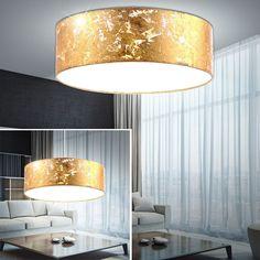Elegant Design LED Decken Leuchte Gold Textil Schirm K chen Pendel Lampe Strahler EEK A M bel u