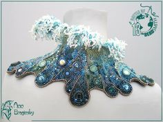 Ann Braginsky Tenth wave (Девятый вал) In this necklace I have tried to show the strength and beauty of the sea. techniques: embroidery, brick stitch, peyote stitch, netting materials: Delica 11, Rocalies 15, 11, czech glass beads, Swarovski elements width - 30 sm, height - 12 sm -time - 2 months