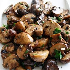 Roasted mushrooms with balsamic, garlic and herbs. Good side dish with steak!