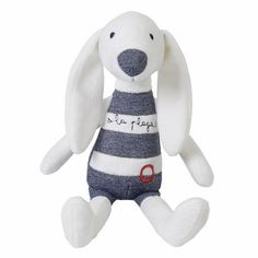 """The Dog Darcy, designed by the Dutch toy company Happy Horse is made from soft velour and denim. Darcy has embroidered facial features as well as """"a la plage"""""""