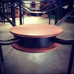 Work in progress. Table detail.  Dettaglio disco in rame su tavoli in ferro acidato nero (brunito a freddo).