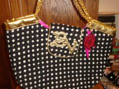 betsey johnson quilted polka dot betseyville purse large tote bag gold trim