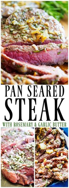 Mouthwatering and insanely delicious and easy, this PAN SEARED STEAK WITH ROSEMARY AND GARLIC BUTTER can make your kitchen the best steakhouse around. #GiftsthatSizzle #steak #holidays #holidayrecipes #panseared #steaklover
