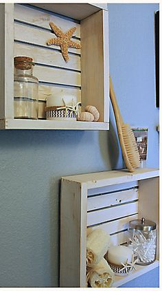 We get a beach vibe from these handmade rustic beach crate shelves. They are perfect for displaying your favorite items whether in your bathroom or