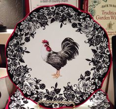 Rooster Plate in Black, Red, and White at Cracker Barrel!