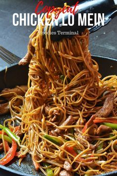 Dont miss this Easy Chicken Lo Mein recipe that tastes even better than any takeout. Made with a homemade Lo mein sauce, crisp veggies Asian Noodle Recipes, Easy Chinese Recipes, Asian Recipes, New Recipes, Cooking Recipes, Favorite Recipes, Healthy Recipes, Easy Recipes, Chinese Desserts