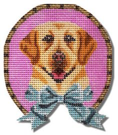 Needlepoint Dog Canvas Small Yellow by ADragonsTaleDirect on Etsy